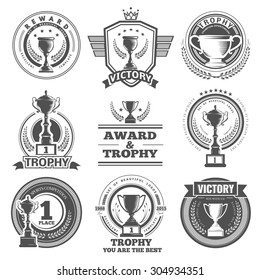 Set of vector winner logos, badges, emblems and design elements. Black icons Victory trophies and awards