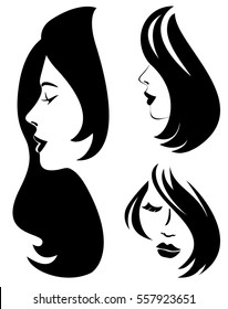Set of vector woman silhouette with hair styling