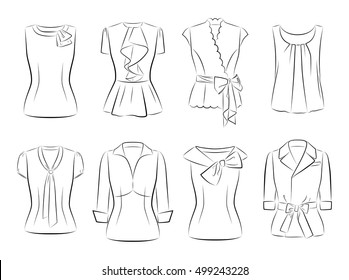 dress icon vector fashion illustration template vector black Mourning Hats with Veils set vector women fashionable blouses