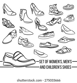 Set vector women, men and children's shoes painted lines in minimalist style