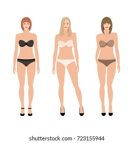 Set of vector women in underwear