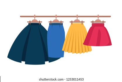 Set Vector Women's High Waisted Street Skirt Skater Pleated Full Midi Skirts on the hanger. four colored skirts on hangers.Clothing for women and girls.illustration isolated from white background