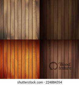 Set of vector wood texture backgrounds, four colors included