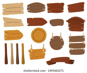 Set of vector wooden signs. Blank wooden boards with nails for banners or messages hanging on chains or ropes. Rustic cartoon signpost or billboard, notice and information theme
