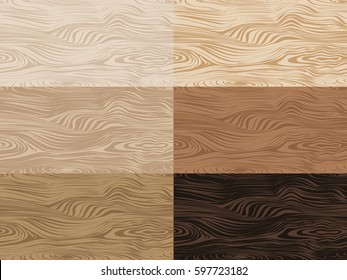 Set of vector wooden textures. Seamless patterns with light and dark wood texture. Wooden background. Vector illustration.