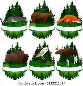 set of vector woodland emblems with  barn owl, red fox, racoon, grizzly bear,  moose bull and zubr buffalo bison