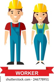 Set of vector  worker man and  worker woman. Vector illustration of a vector worker man and  worker woman.