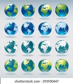 Set of vector world globe icons and symbols