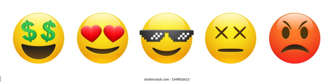 Set of vector yellow rich, dead, angry, thug life emoticon and emoticon in love with heart eyes on white background. Glossy funny cartoon Emoji icon collection. 3D illustration for chat or message.