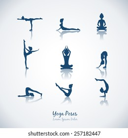 Set vector yoga poses. Healthy lifestyle and silhouette, woman and meditation and breathing