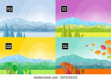set of vectorial flat illustrations of seasons, mountain landscapes of winter, spring, autumn and summer, abstract backgrounds from geometric figures and triangles