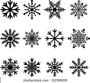 Set of vectorized abstract Snowflakes