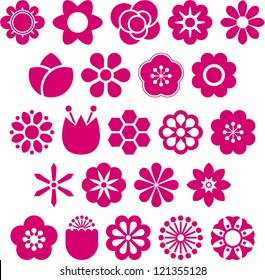 Set of Vectorized Flowers