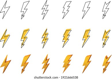 set of vectorized rays, with black stroke and yellow background