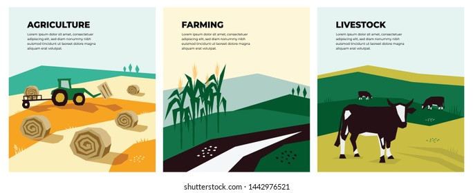 Set of vectors with agriculture, farming and livestock. Illustrations of a tractor, hayfield, haystack rolls, farm animals, cows in pasture, cornfield. Template for banner,poster,flyer, prints, books.