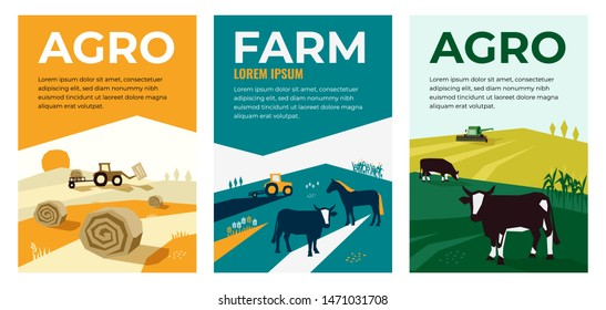 Set of vectors with agriculture, farming, livestock, harvest. Illustrations of a tractor, hayfield, haystack rolls, farm animals, cows in pasture, combine harvester. Template for banner,poster, prints