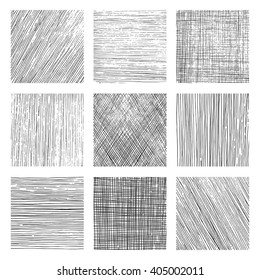 Set of vectors backgrounds created with different kind of hatchings. Textures created with vertical, horizontal or diagonal lines drawn with a black pen.
