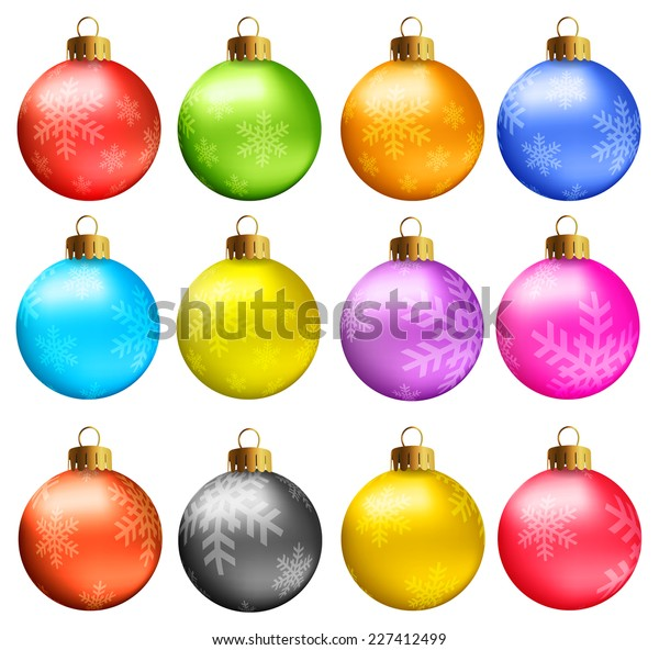 Set of vectors - Christmas balls in vivid colors with snowflakes model.