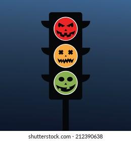 Set of vectors halloween symbol as road sign
