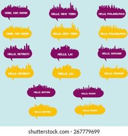 set of vectors landscapes, speech bubbles. cities