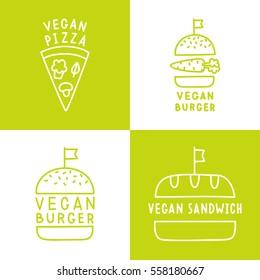 Set of vegan food icons. Burger, pizza, sandwich. Vector logos.