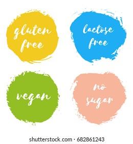 Set of vegan, gluten lactose free, no sugar design logo templates. Healthy natural badge, fresh milk splash, tag for cafe, restaurant, package. Hand drawn lettering card, watercolor dry brush stroke.