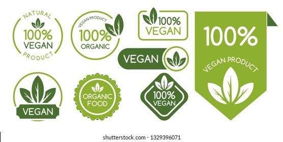 Set of Vegan Signs. Vegan Logo. Vector Illustration.