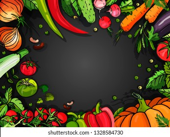 Set of vegetable backraund on a black background for menu. Vector vegetables stickers: Pumpkin, cucumber, pepper, tomato, pea, beans, onion, zucchini, eggplant. Stickers. Drawn by hand.