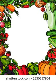 Set of vegetable backraund on a white background for menu. Vector vegetables stickers: Pumpkin, cucumber, pepper, tomato, pea, beans, onion, zucchini, eggplant. Stickers. Drawn by hand.