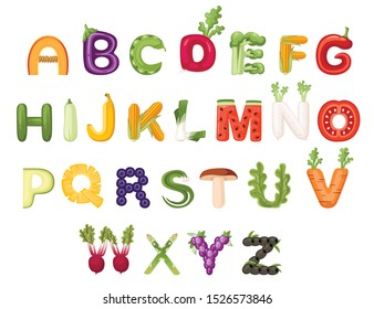 Set of vegetable and fruit alphabet food style cartoon vegetable design flat vector illustration isolated on white background