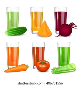 Set of Vegetable juices. Cucumber, tomato, carrot, pumpkin, beets and celery. Natural vegetable drink, healthy organic food. Realistic vector illustration