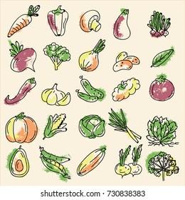 a set of vegetables