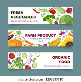 Set of vegetables banner. Standard web design size. Vector bright colorful fresh food illustration on white background in simple cartoon flat style.