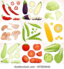 Set of vegetables. Different vegetables whole, half and sliced isolated on background. Vector illustration.