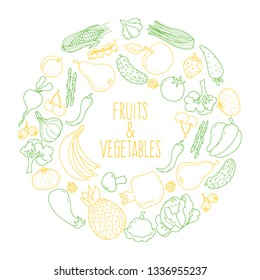 Set of vegetables and fruits in a circle. Sticker. Doodle. Vector