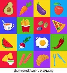 Set of vegetables, fruits and fast food. Vector illustration. Square format. Cartoon style. Poster for the kitchen.