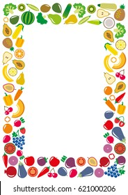 Set of vegetables and fruits icons illustration rectangle frame background on white vector