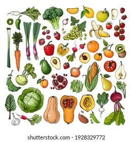 Set of vegetables and fruits vector food. Cabbage, pumpkin, corn, broccoli, banana, tomato, ranta, lemon, apple, pear
