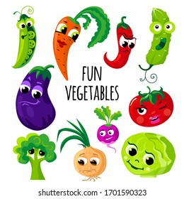 Set of vegetables with funny faces. Vector image isolated on a white background. The illustration is made in a cartoon style.