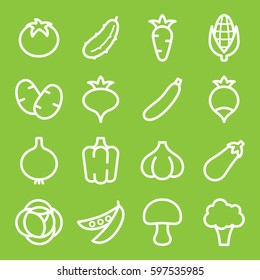 Set of vegetables icons. Vector illustration
