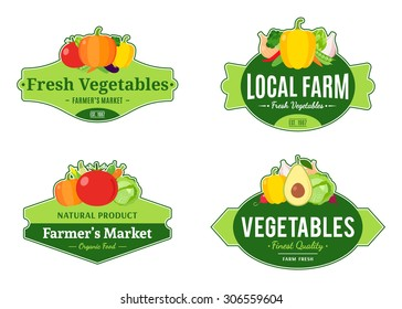 Set of vegetables labels for farmer's stores and products