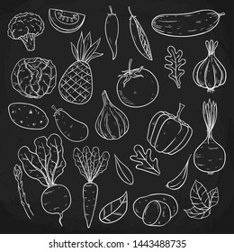 Set of Vegetables With Sketch or Hand Drawn Style on Blackboard Background