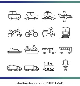 Set of Vehicle / Transportation icon. Thin line editable to flat icon isolated on white background. Simple vector illustration for your website, blog, social media, articles, infographics design.