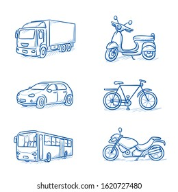 Set of vehicles, as truck, car, bus, bike, scooter and motorbike.  Hand drawn line art cartoon vector illustration.