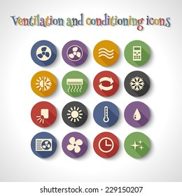 set of ventilation and conditioning system flat icons with long shadow