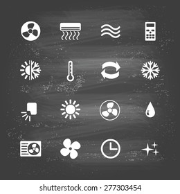 set of ventilation and conditioning system flat icons