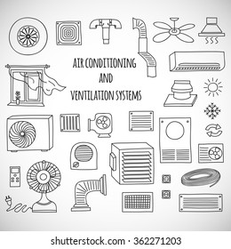 Set of ventilation and conditioning system icon.
