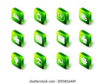 Set Verification of delivery list clipboard, Fragile broken glass, Wooden box with check mark, Carton cardboard, Gear wheel package, Forklift truck and Warehouse icon. Vector