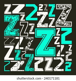 Set versions of letters Z in a variety styles. Color print on black background