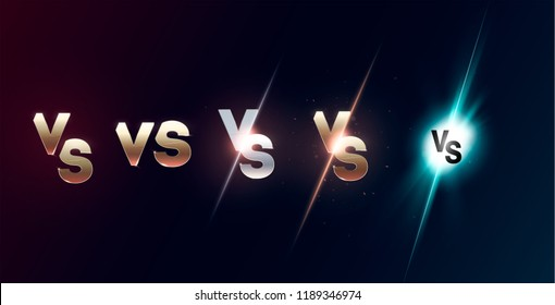 Set of versus logo vs letters for sports and fight competition. MMA, UFS, Battle, vs match, game concept competitive vs. eps 10 Vector illustration
